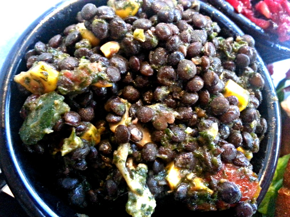 LENTILS tomato, cucumber, cauliflower, basil-mint pesto
