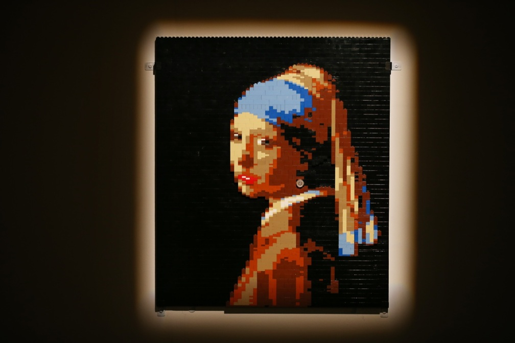 A Lego version of the painting 'Girl with a Pearl Earring'