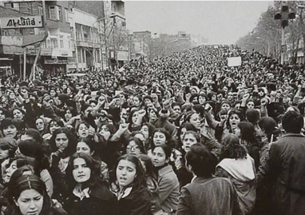 Women protesting the forced Hijab in Iran days after the 1979 revolution