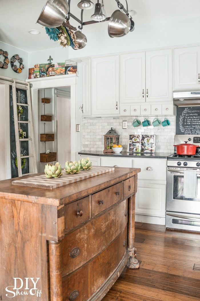 This empire dresser serves as functional kitchen island storage