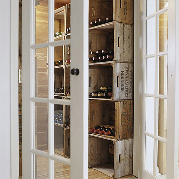 Stacked crates for wine storage