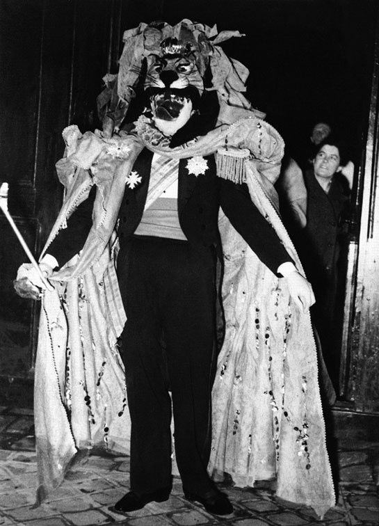 Christian Dior disguised as a lion at the Kings and Queens ball in March 1949