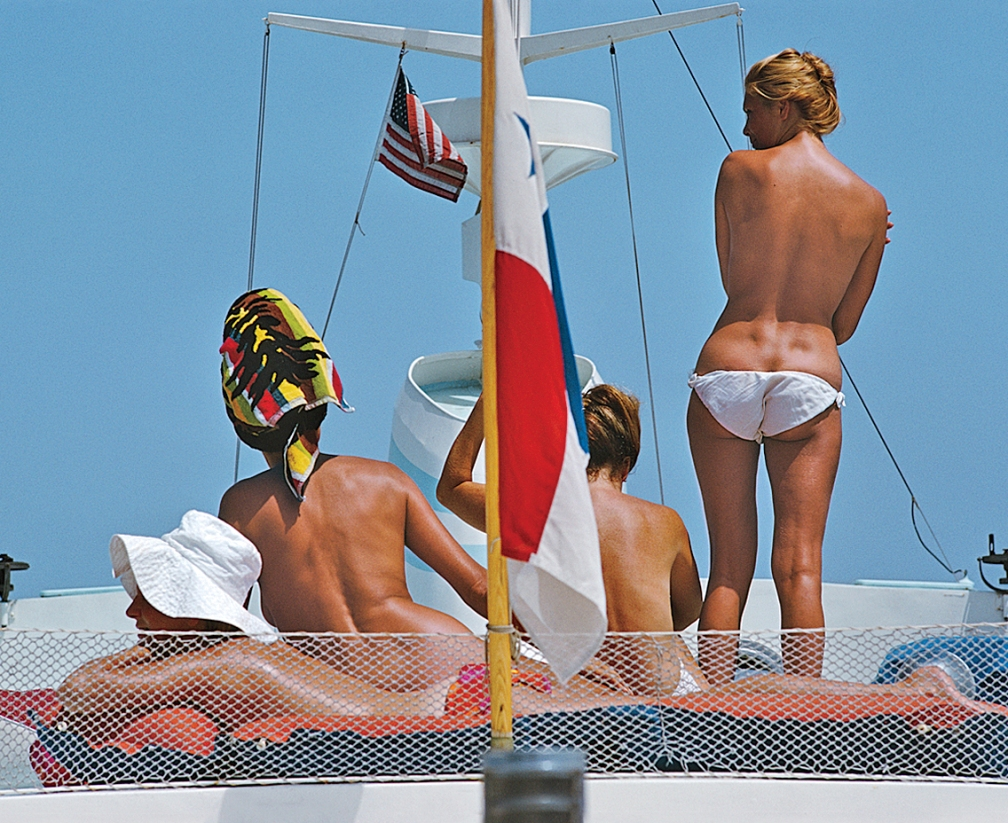 "Guests of Count Fernando ""Dino"" Pecci-Blunt tan topless aboard his yacht off Marbella, Spain, 1967"