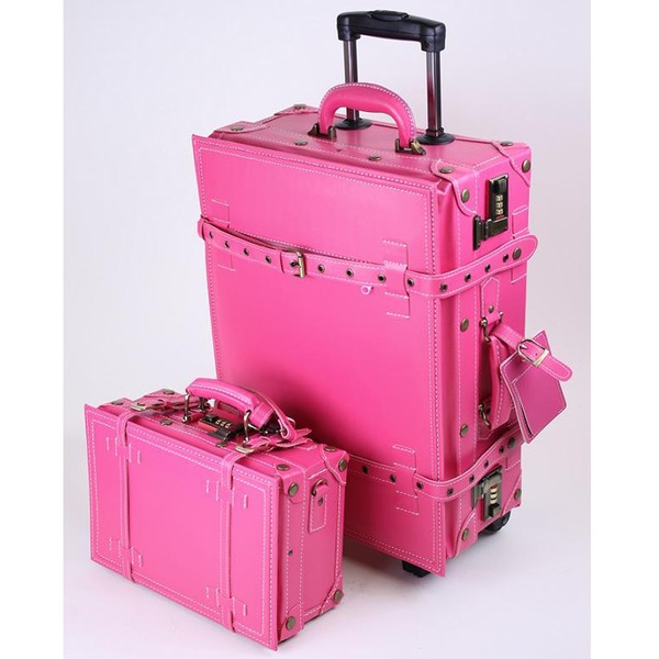 La Vida Pink Vintage-look 2-piece Carry-On Luggage Set