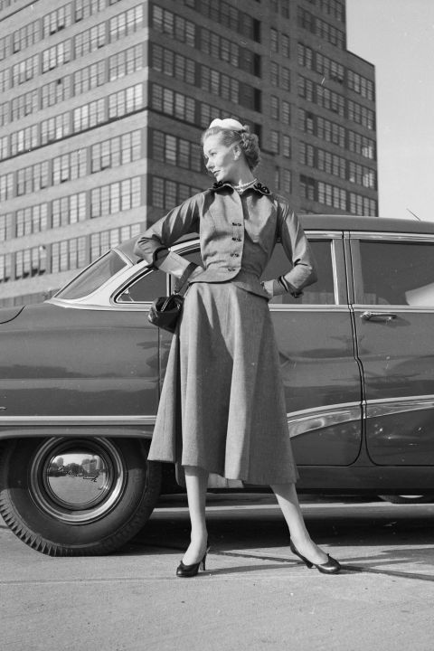 A model poses in New York, 1952
