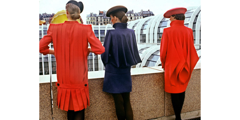 Models pose in Pierre Cardin looks, 1980