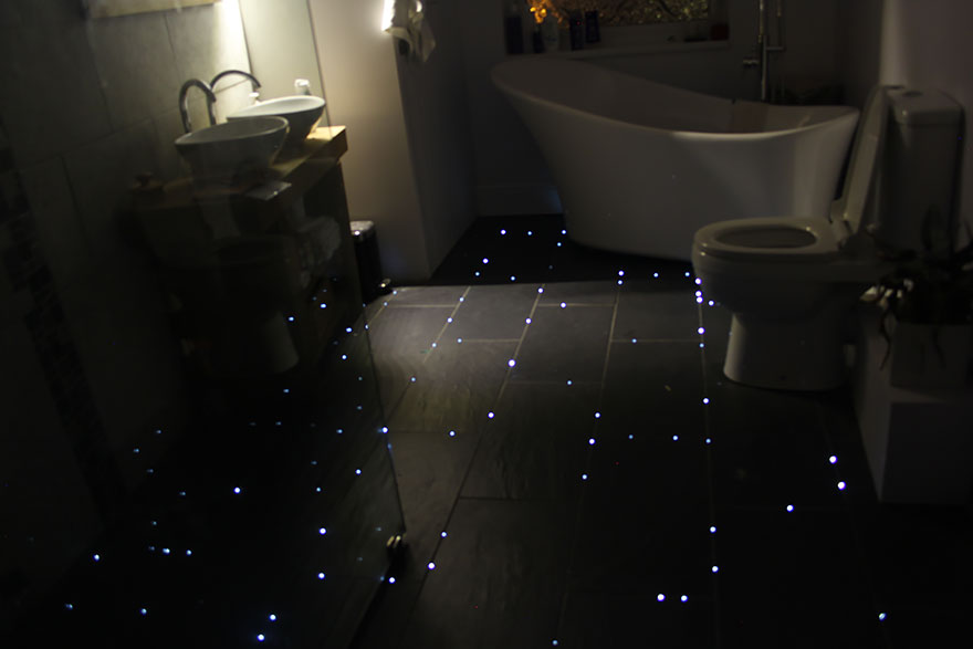 Fiber Optic Starry Night Sky Bathroom Floor